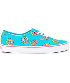 Limited Edition Odd Future x Vans skate shoe featuring signature Golf Wang pink donut print on a bright Scuba Blue colorway. Low profile Authentic style with pink foxing stripe, white side-stripe, and