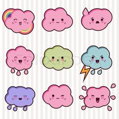 Stock vector of 'Collection of funny and cute happy kawaii clouds'