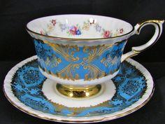 PARAGON AQUA BLUE FANCY GOLD FLORAL SWAGS TEA CUP AND SAUCER #Paragon EBAY