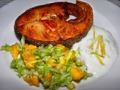 Pan Seared Wild Salmon steak With Citrus Yoghurt Sauce and Iceberg-orange salad.    Does anyone have hunger ??????
