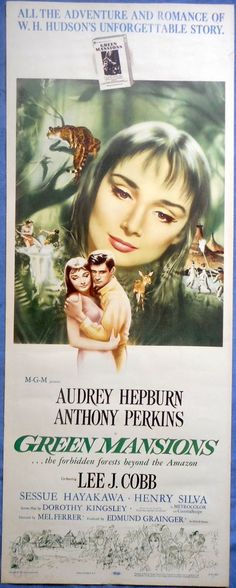 GREEN MANSIONS MOVIE POSTER 1959 Audrey Hepburn Anthony Perkins Amazon Jungle