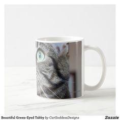 Beautiful Green-Eyed Tabby Coffee Mug Cat Coffee Mug, Cat Mug, Beautiful Green Eyes, Store Design, Custom Mugs, Tea Cups, Cats, Tableware, Gatos