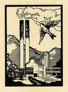 Mountain Morning 5x7 Letterpress Linocut by boundstaffpress, $30.00