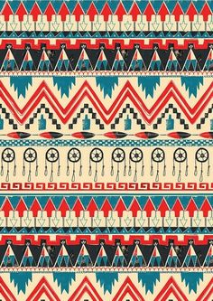 Red white and blue aztec