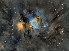 Orion Nebula in Surrounding Dust. What surrounds a hotbed of star formation? In the case of the Orion Nebula -- dust. The entire Orion field, located about 1600 light years away, is inundated with intricate and picturesque filaments of dust. Opaque to visible light, dust is created in the outer atmosphere of massive cool stars and expelled by a strong outer wind of particles.