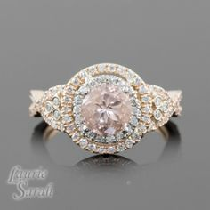 Double Halo Rose Gold Engagement Rings In Finger Pics 47