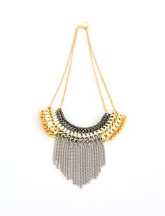 Gold and silver chain nacklaceKnitted Chuncky chain by KandKapi, $80.00