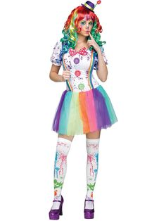 Womens Crazy Color Clown Costume - Halloween Costumes at Costume Discounters Halloween Clown, Cute Clown Costume, Clown Costume Women, Halloween Costumes For Girls, Adult Costumes, Costumes For Women, Clown Costumes, Cute Clown Makeup, Creepy Makeup