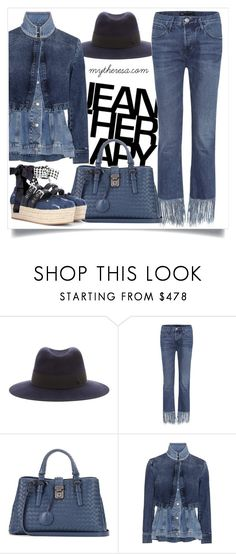"""""""Statement Denim"""" by mytheresa ❤ liked on Polyvore featuring Therapy, Maison Michel, 3x1, Bottega Veneta, Alexander McQueen, Gianvito Rossi, mytheresa and buytheresa"""
