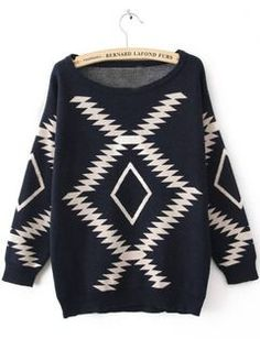 Navy Long Sleeve Geometric Print Pullovers Sweater - Sheinside.com