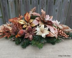 Christmas Centerpiece, Copper Silk Floral Arrangement,
