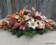 "Christmas Centerpiece Copper Silk Floral Arrangement Basket Poinsettia  ""Copper Radiance"" Thanksgiving Decor on Etsy, $48.00"