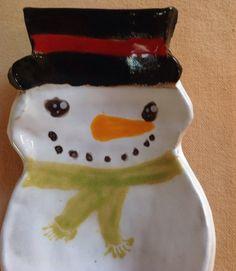Snowman Dish - ceramic spoon rest cute stoneware soap dish