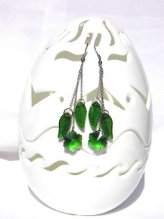 Long Dangle Earrings with green leaves and flower/ by Marywool, $14.00