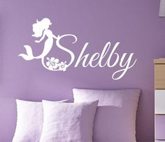 Vinyl Wall Lettering Mermaid Flowers Personalized by WallsThatTalk