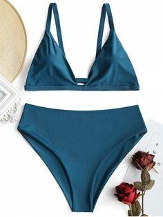 Plus Size Padded High Waisted Bikini Set - MALACHITE GREEN XL #highwaistedbikinis #swimwear#style#woman#fashion