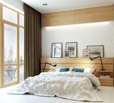 chambre blanche avec panneaux muraux en bois et éclairage indirect