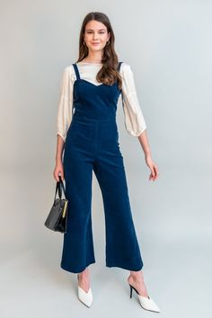 The fitted jumpsuit of your dreams. Fits comfortably, sweetheart neckline, adjustable straps and slightly flared legs. Size + Fit -Flat measurements taken from size 4 -Bust: 16 -Outseam (from under armhole): 47 -Inseam: 28 Fitted Jumpsuit, Jeans Jumpsuit, Overalls, Pants, Stylish Outfits, Cool Outfits, Summer Outfits, Stylish Clothes, Long Jumpsuits