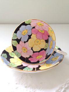 English Bone China Tuscan Fine Bone China Teacup and Saucer Blossoms Tea Party - c. 1950s