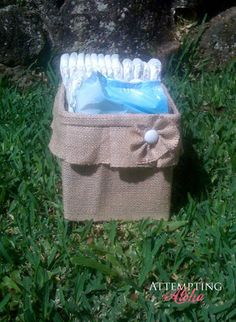 Attempting Aloha: Think outside the {toy} Box - Over 50 Organizational Tips for Kids' Spaces. This one is taking a sturdy diaper or wipe box and covering it in burlap! Burlap Crafts, Diy Crafts, Wipes Box, Toy Boxes, Storage Boxes, Storage Ideas, Cheap Storage, Creative Storage, Bed Storage