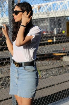 Skirt: Re/Done  Belt: Gucci Top: HM  Sunglasses: Rayban Gucci Top, My Outfit, Denim Skirt, Ray Bans, Mini Skirts, Belt, Sunglasses, Outfits, Tops