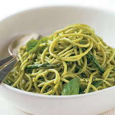 Spinach Pasta with Asparagus Pesto | MyRecipes.com