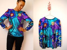 Vtg 80's Sequined Abstract Print Trophy Top  http://www.etsy.com/shop/LuluTresors