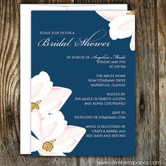 Navy and White Bridal Shower Invitations with floral accent by OliveBerryPaper