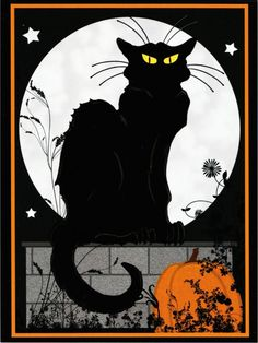 Le Chat Noir Halloween Black Cat by Steinlen Altered Art Postcard 1 | eBay