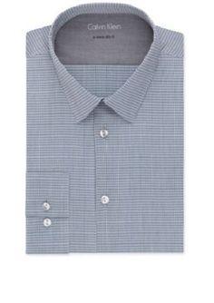 CALVIN KLEIN $69 BLUE GRAY PLAID EXTRME SLIM FIT BUTTON STRETCH DRESS SHIRT XL #CalvinKlein #ButtonFront