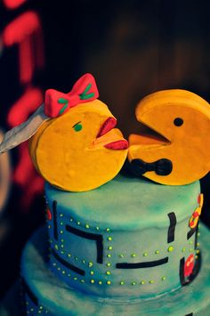 Pacman/Mrs. Pacman cake - Bowling Alley wedding. I approve
