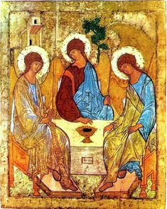 Russian art / Andrei Rublev / Troitsa (The Holy Trinity). Temple icon of the Trinity Cathedral in the Troitse-Sergiyeva Lavra (Trinity-Sergius Lavra). Byzantine Icons, Byzantine Art, Russian Icons, Russian Art, Russian Culture, Tempera, Religious Icons, Religious Art, Religious Gifts