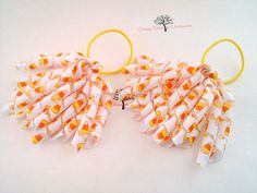 Curly Korker Ribbon Pigtails Candy Corn on by OrangeBlossomAccess, $6.25 #tbec #Halloween #ribbon