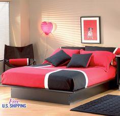 Black Platform Bed Wood Full Queen Size Frame Underbed Storage Modern Bedroom  #Modern