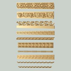 Decorative Moldings Set 04 print model architectural architrave, formats STL, ready for animation and other projects Architectural Pattern, Decorative Mouldings, Model Homes, Door Design, 3d Printing, Panelling, Wood Carving, Minis, Entrance
