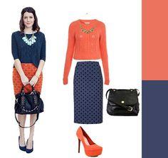 Patterned skirt + Bold Sweater.