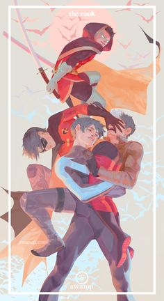 Love them all. Batboys. Nightwig, Red Hood, Red Robin, & Robin.