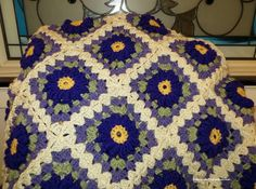 Large Afghan Blanket  Royal Purple Blossoms by EvensensProductions