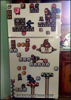 Megaman, Super Mario, Pacman, Kurby, Rampage, Pokemon and legend of Zelda Plastic canvas fridge magnets I've made to decorate my fridge.