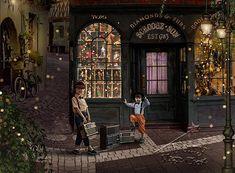 Vintage digital background old store nostalgic feel