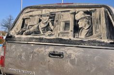 Is there anything more American than a portrait of John Wayne on a pickup truck? #InkedMagazine #art #dirt #car #dirtycar #cool