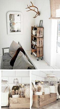 Love the look of old crates? Build DIY 'vintage' crates from pallets to make an industrial-style stacked crate shelf with caster wheels. Eco Deco, Old Crates, Wooden Crates, Wine Crates, Vintage Crates, Vintage Wood, Wooden Boxes, Wine Boxes, Vintage Regal