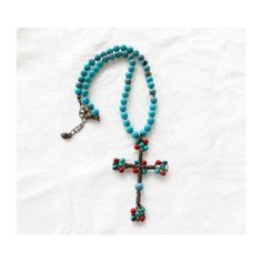 Vintage Cross Necklace, Beaded Southwest Style, Turquoise and Coral,... ($33) ❤ liked on Polyvore featuring jewelry and necklaces
