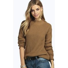 Boohoo Camille Turtle Neck Waffle Knit Jumper featuring polyvore, fashion, clothing, tops, sweaters, camel, chunky sweater, animal print sweater, marled sweater, turtle neck sweater and wrap top