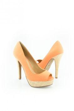 Myra peep toe in orange glow