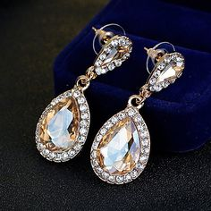 Women's Champagne Gold Drop Earrings Rhinestone Unique Design Dangling Style Classic Alloy Jewelry ForWedding Party Special Occasion Anniversary 2017 - $5.99