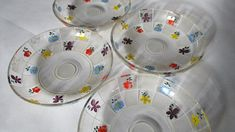 Bohemian Vintage Handpainted Glass Dainty Ice Cream/Dessert