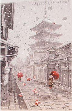 Beautiful Japanese Christmas Cards | Geisha and Santas