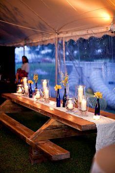 Ideas For Backyard Wedding Reception Ideas Picnic Tables Picnic Table Wedding, Reception Table, Wedding Reception, Picnic Tables, Wedding Backyard, Reception Ideas, Wedding Ideas, Wedding Tables, Rustic Wedding