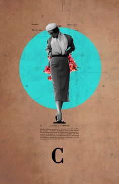"""C"" by Frank Moth on Displate #collage #woman #fashion #displate #blue #circle"